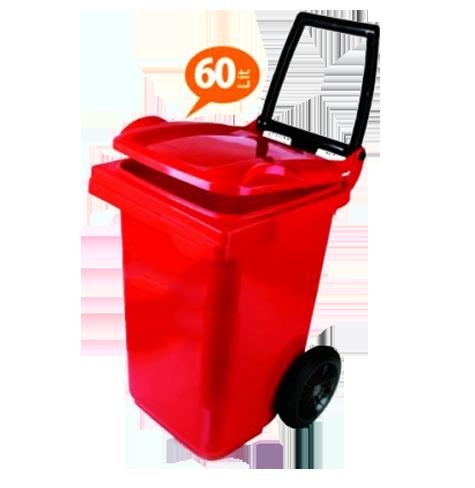 سطل زباله پلاستیکی چرخدار و دسته دار