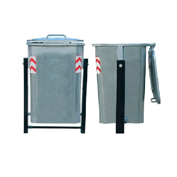 سطل زباله گالوانیزه و مکانیزه 220 لیتری پاندولی